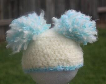 Crochet Baby Boy Pom Pom Hat