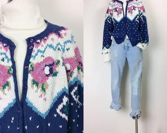 vintage floral cable sweater/fisherman sweater/hand knit sweater/cardigan women's size S/M/L