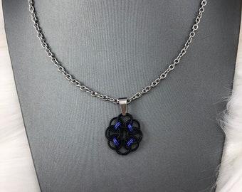 Black and Purple Helm Flower Pendant Necklace