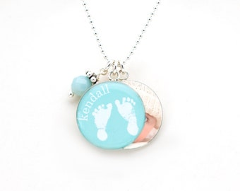 Baby Footprint & Photo Necklace | Mothers Necklace | Your Baby's Footprints and Photo Necklace | Sterling Silver