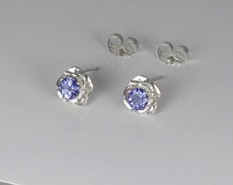 Natural Tanzanite Earrings Sterling Silver / Stud Earrings Rose-Shaped