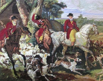 Vintage finished Renaissance Fox Hunt Needle Point Canvas - Very rare collectible item