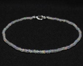 Natural OPAL Bracelet, Ethiopian Opal Beads, 2.5 - 3 mm size, Smooth Rondelle Beads, Welo Opal Bracelet, Item No. 288