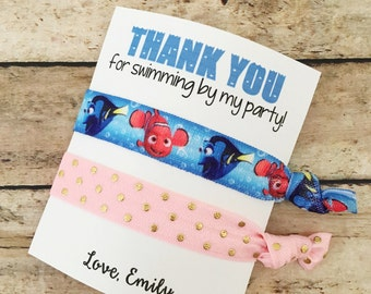 Finding Dory Favors, Hair Tie Favors, Finding Dory Birthdag Favors, Dory Party Favors, Dory Birthday Girl, Hair Tie Bracelet, Finding Dory
