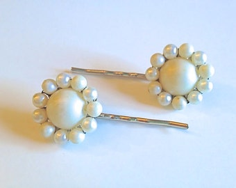 Vintage Wedding Bridal Hair Pins Upcycled Repurposed White Pearl Beaded 1960s Something Old Wedding Wardrobe