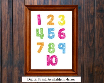 Numbers Nursery Wall Art, Playroom Wall Décor, Colourful Numbers Wall Art, Numbers Print, 123 Print, Printable Number Art, Numbers Poster