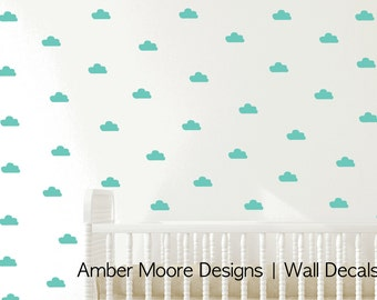 Tiny Clouds Wall Decals, Little Clouds Wall Stickers, Childrens Wall Decals, Nursery Wall Art - Kids Vinyl Wall Decal - Children's Bedroom
