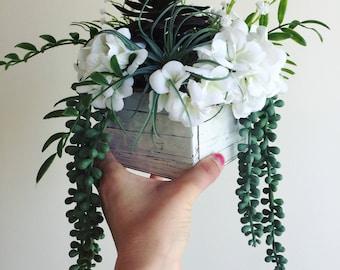 Succulent centerpiece, wedding centerpiece, succulents, silk flowers