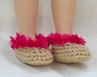 "18"" doll slippers - biege and hot raspberry pink"