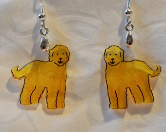 """Goldendoodle/Labradoodle/Poodle/Doodle earrings, 100% recycled, """"shrinky dink"""""""