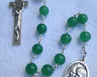 Genuine Green Aventurine and Freshwater Pearl Single Decade Roman Catholic Pocket Rosary
