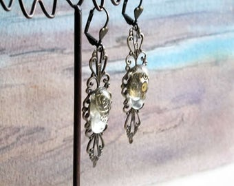 Steampunk Earrings made of Bronze  colour  filigree with resin cabs and watch gears  for pierced or unpierced ears