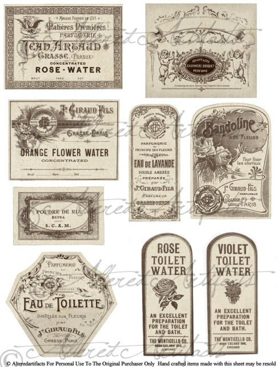 printable vintage french perfume labels printable bottle label
