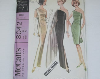 Vintage 1960s McCall's 8042 UNCUT Bare Shoulder SHEATH DRESS Pauline Trigere Sewing Pattern Bust 32 New York Designers' Collection