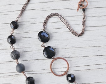 Raven's Wing Necklace, Fog and Fern, Carlie Beads, Onyx, Lava, Copper, Hammered, Rustic, Black, Handmade, Wedding, Alaska, Yukon, Woodland