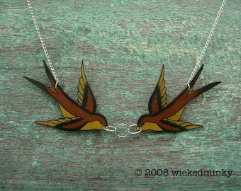brown and gold earth tones double kissing tattoo inspired sparrows necklace