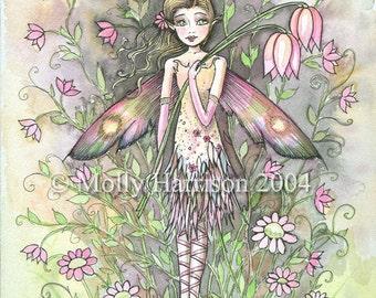 Fairy Art Print - Fae Lia - Colorful Fun Garden - Whimsical Fairy Fine Art Print by Molly Harrison 8 x 10