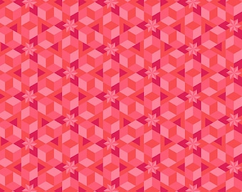 Alison Glass, Diving Board, Star Fish - for Andover Fabric 8638 E Pink - Priced by the Half Yard
