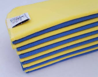 ECO CLOTH WIPES / Set of 12 / Yellow Blue Cotton Cloth Wipes