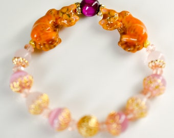 Inviting tea Tiger cat color cat bracelet