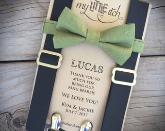 Ring Bearer Gift, Ring Bearer Proposal, Ring Bearer Outfit, Boys Bow Tie, Suspenders for Boys, Wedding Outfit Boy, Boys Party Outfit, Bowtie