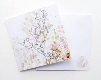 Flower birthday card, watercolor birthday card, friend birthday card, botanical print, nature print, watercolour art,  mothers day card