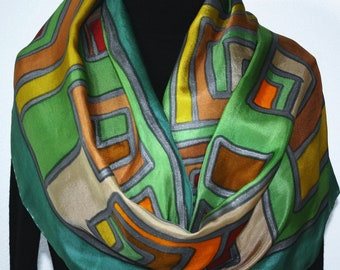 Silk Scarf Hand Painted Green Brown Orange Hand Dyed Shawl JOY STORY, by Silk Scarves Colorado. Select Your SIZE! Birthday, Christmas Gift