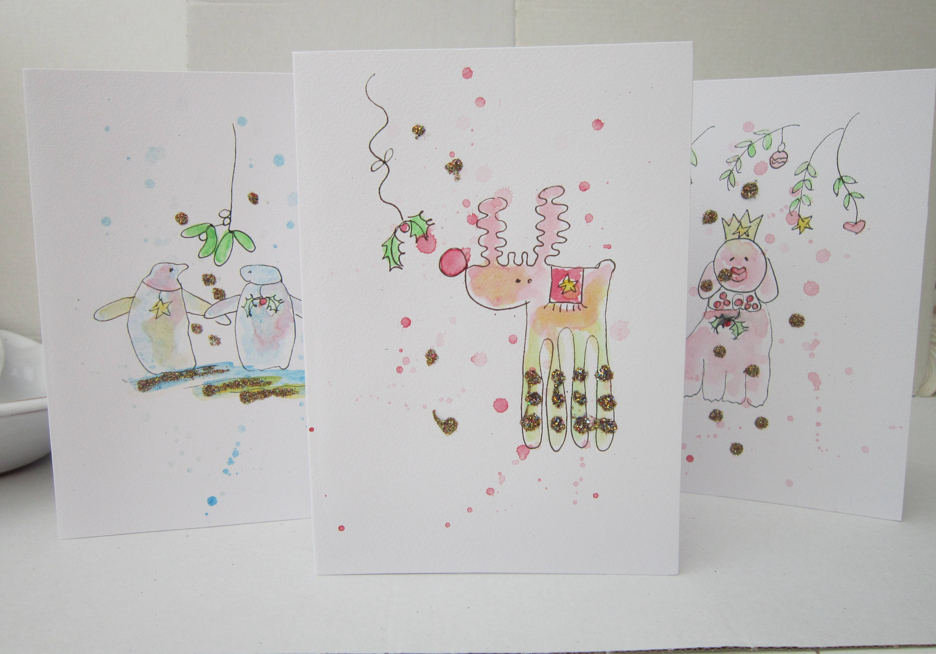 Xmas cards set pack of 5 cards watercolour cards Quirky