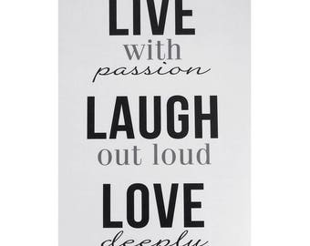 Live, Laugh, Love Quotes Wall Art Sticker, 12-Inch