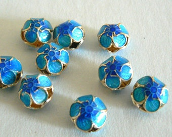 6 11x6mm Handmade Cloisonne Beads Gold Plated Small Cherry Blossom Blue