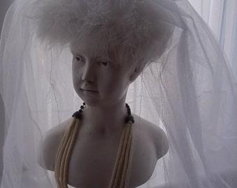 Wedding  Inspiration : Vintage Veil, Vintage Bridal Veil, Lovely Vintage Three Tier Wedding Veil and Headdress, Swansdown, Malibu, 1960s