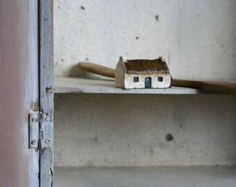 Miniature Irish Cottage Hand Painted Paper Clay -- Handmade in Ireland
