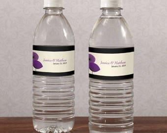Romantic Elegance Personalized Water Bottle Labels Wedding Favors