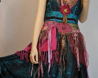 "Wonderful Teal nude dress ""Lubov"", Unique, Art to wear, Boho dress, very feminine"