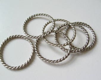 Twisted ring  antique silver tone plating 25mm 15pcs