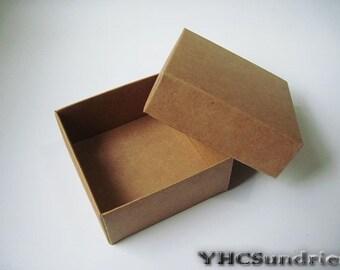 """10pcs - 350gram Kraft paper Box with cover - 3.52""""(L) x 3.52""""(W) x 1.68""""(H) *KB005*"""