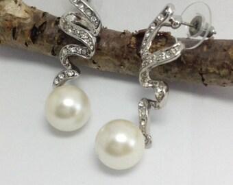Rhodium Plated  Pearl Earrings, Jewellery  Dangle l Earrings