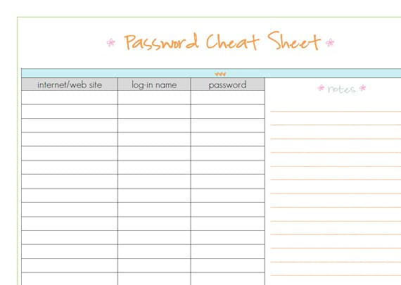 password sheet template