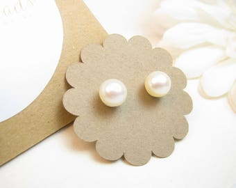 7mm Real Pearl Stud Earrings on Sterling Silver Posts - Girl Graduation Gift - Simple Round Ivory Cream Off-White Pearl Post Earrings