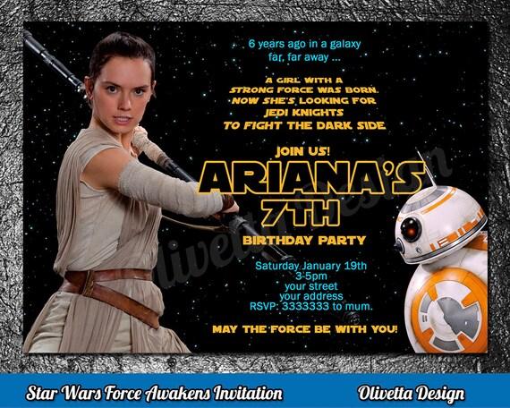 Rey invitation star wars birthday invitation star wars like this item filmwisefo Image collections