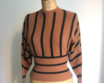 Brown Black Striped Vintage 1940s 1950s Wool Sweater Women Ribbed Waist Long Sleeved Size Small S