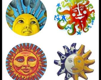Sun Arts - Sunny Faces - Face Art - Digital Downloads - Collage Sheets - 30mm Suns - 30mm Pendants - Bottlecaps - Suns - DDP425