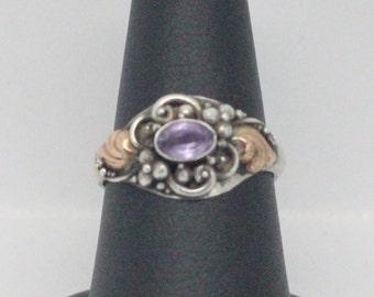 Vintage Amethyst 14k Gold Plated Sterling Silver Ring