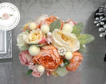 Bridal Brooch Bouquet, READY TO SHIP, Silk flowers Bouquet, Roses brooch bouquet, Pink Bridal Brooch Bouquet