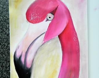 Sassy Pink Flamingo on Acrylic Paper