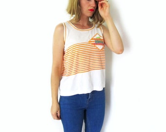 vintage tank top 90's womens clothing striped orange tropical sport 1990s size medium m