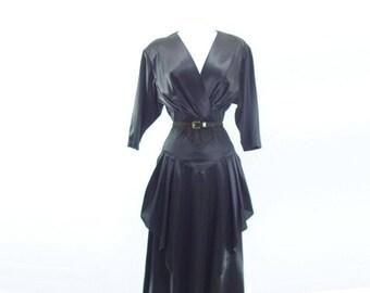 sale Vintage Party Dress Peplum Dress Black Midi Dress 1980s Black Dress Dolman Sleeve Dress Surplice Dress s