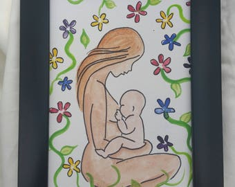 Breastfeeding Watercolour Painting Hand Painted Nursing Mother and Baby A4 A5 8x10 inch