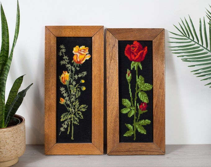 Vintage Floral Needlepoint Artwork - Pair of Black Backdrop Wood Framed Embroidered Cross Stitch Fabric Art Tapestry - Red and Orange Roses
