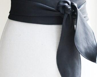 Navy Leather Obi Belt | Corset Belt | Leather Sash belt | Plus Size Belts | Wrap Belt | Leather Obi Belt | Blue Leather Belt | Leather Belt